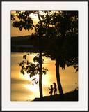 Kids Fishing at Sunset Framed Photographic Print by Gayle Harper