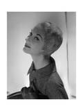 Lisa Fonssagrives-Penn Modeling Feathered Sheath Hat and Tweed Jacket Regular Photographic Print by Horst P. Horst