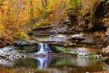 Autumn waterfall in McCormics Creek State Park, Indiana, USA Photographic Print by Anna Miller