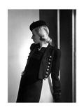Model Wearing a Bolero Jacket Made of Black Ottoman Regular Photographic Print by Horst P. Horst