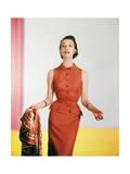 Model Wearing a Sleeveless Linen Tangerine Moygashel Black Checkered Dress Regular Photographic Print by Horst P. Horst