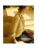 Model Sitting Wearing a Gold Forstmann Wool Short Coat by Monte-Sano and Pruzan Premium Giclee Print by Horst P. Horst
