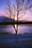 Frozen lake sunset, Eagle Creek Park, Indianapolis, Indiana, USA Photographic Print by Anna Miller