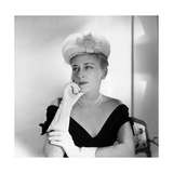 Mrs. William Gaynor Modeling by Balenciaga White Tulle Hat Regular Photographic Print by Horst P. Horst