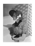 Model Wearing Wide-Brimmed Straw Hat with Grosgrain Chin Strap by Schiaparelli Regular Photographic Print by Horst P. Horst