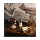 Still-Life of 17th Century Silver Brushes Against a Background of 18th Century Chinese Paper Panel Regular Photographic Print by Horst P. Horst