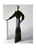 Model Jean Patchett in a Sealskin Mainbocher Jacket and Full-Length Skirt with Velvet Flowers Regular Photographic Print by Horst P. Horst