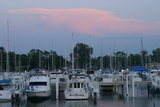 Boat docks at sunset, Indiana Dunes, Indiana, USA Photographic Print by Anna Miller
