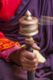 Close Up with a Buddhist and a Hand-Held Prayer Wheel, Bhutan Photographic Print by Gavriel Jecan