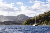 French Polynesia, Society Islands, Raiatea. Catamaran in Choppy Water Photographic Print by Alida Latham