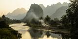 Laos, Vang Vieng. River Scene Fotografisk trykk av Matt Freedman