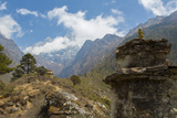 Nepal Valley Reaching Back into the Himalayas with a Chorten Fotodruck von Bill Bachmann