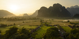Laos, Vang Vieng. Sunset View from Hot Air Balloon Photographic Print by Matt Freedman