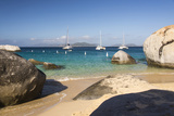 Bvi, Virgin Gorda, the Baths NP, Coastal Beach and Sail Boats Photographic Print by Trish Drury