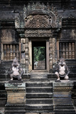 Cambodia, Angkor Wat. Banteay Srei Temple, Monkey Statues and Doorway Photographic Print by Matt Freedman