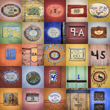 Mexico, San Miguel De Allende. Collage of House Numbers from City Photographic Print by Jaynes Gallery