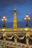 Ornate Pont Alexandre Iii with the Eiffel Towe, Paris, France Photographic Print by Brian Jannsen