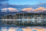 Big Mountain Reflects in Whitefish Lake, Whitefish, Montana, Usa Photographic Print by Chuck Haney