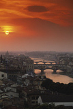 Walter Bibikow - Italy, Florence, Tuscany. Central Florence at Sunset Fotografická reprodukce