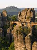 Elbsandsteingebirge, NP Saxon Switzerland. Bastei Bridge and Rocks Stampa fotografica di Martin Zwick