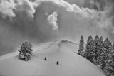 Backcountry Ski Climbers in Fresh Powder, Near Salt Lake City, Utah Lámina fotográfica por Howie Garber