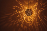 India, Rajasthan, Jaisalmer. Pierced Lamp and Shadows Against Wall Photographic Print by Alida Latham