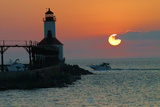 Indiana Dunes lighthouse at sunset, Indiana Dunes, Indiana, USA Photographic Print by Anna Miller
