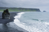 Iceland. Dyrholaey. Black Sand Beach and Sea Stack Photographic Print by Inger Hogstrom