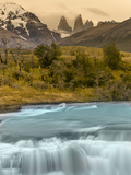 River and Waterfall with Las Torres. Torres Del Paine NP. Chile Photographic Print by Tom Norring