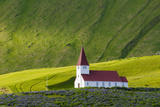 Iceland. Vik I Myrdal. Church on the Hill Photographic Print by Inger Hogstrom