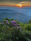 Sunset, Cowee Mountain Landscape, Blue Ridge Parkway, North Carolina Photographic Print by Howie Garber