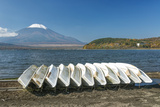 Japan, Yamanashi, Lake Yamanaka, Boats with Mt. Fuji in Background Photographic Print by Rob Tilley