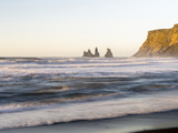Beach During Sunrise with the Sea Stacks Called Reynisdrangar, Iceland Photographic Print by Martin Zwick