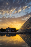 Sunset Refection of Glass Pyramid of Musee Du Louvre, Paris, France Photographic Print by Brian Jannsen