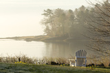 Foggy Morning in Spring, Chair Overlooking Casco Bay, Freeport, Maine Photographic Print by Rob Sheppard