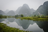 Vietnam, Ninh Binh. Limestone Karsts, with Reflection, in Fog Photographic Print by Matt Freedman