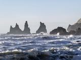 Coast Near Vik Y Myrdal, Winter. the Sea Stacks Called Reynisdrangar Photographic Print by Martin Zwick