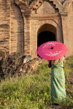 Woman with Umbrella. Myanmar Taj Mahal. Mandalay. Myanmar Photographic Print by Tom Norring