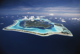 French Polynesia, Bora Bora, Aerial View of Bora Bora Island Photographic Print by Walter Bibikow