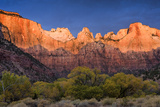 West Temple, Altar of Sacrifice, and Sundial at Sunrise, Zion NP, Utah Photographic Print by Howie Garber