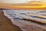 USA, Michigan, Paradise, Whitefish Bay Beach with Waves at Sunrise Photographic Print by Frank Zurey