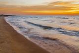 USA, Michigan, Paradise, Whitefish Bay Beach with Waves at Sunrise Photographic Print by Frank Zurey