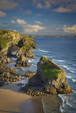 Sunset over the Bedruthan Steps Along the Cornwall Coast, England Photographic Print by Brian Jannsen
