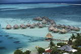 French Polynesia, Bora Bora, Taahina Bay and the Bunglows Photographic Print by Walter Bibikow