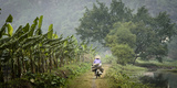 Vietnam, Ninh Binh. Woman on Bicycle Riding Away on Path Photographic Print by Matt Freedman