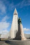 Iceland. Reykjavik. Hallgrimskirkja. Statue of Leif Eriksson Photographic Print by Inger Hogstrom