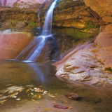 USA, Utah, Zion National Park. Small Waterfall Forms Pool Photographic Print by Jaynes Gallery
