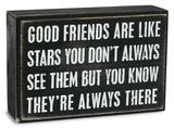 Good Friends Are Like Stars Box Sign Cartel de madera