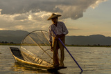 Intha Fisherman at Work. Using the Legs for Rowing. Inle Lake. Myanmar Photographic Print by Tom Norring