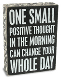 Positive Thought Box Sign Cartel de madera